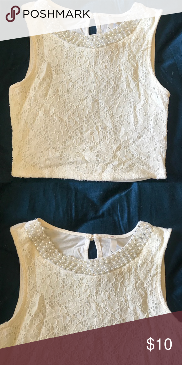 Lace And Pearl Crop Top With Images Wear Crop Top Crop Tops Tops