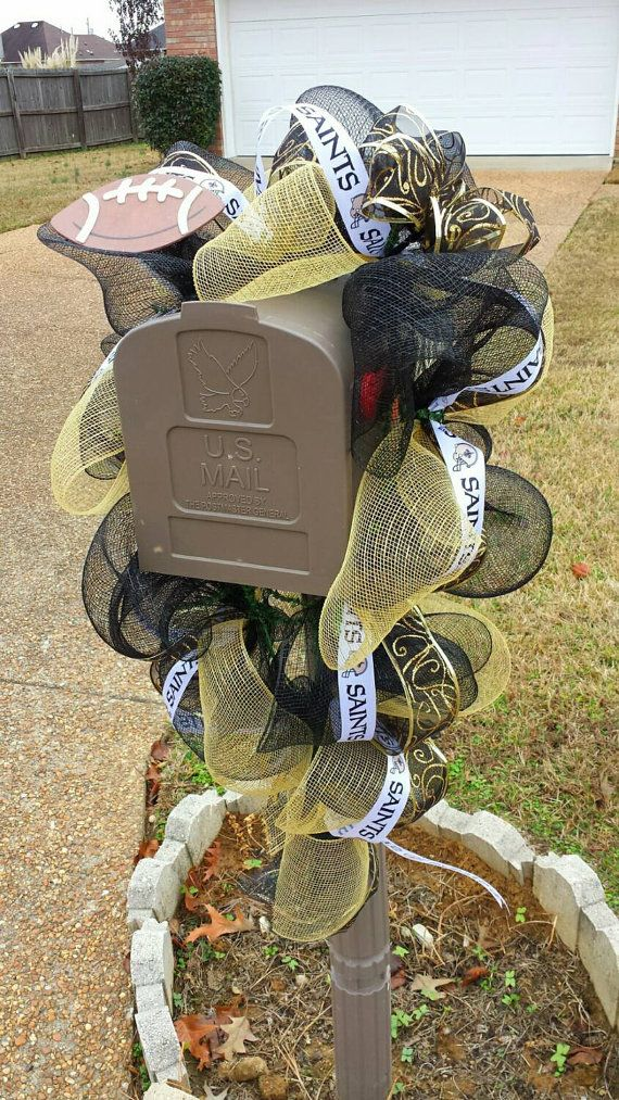 nice New Orleans Style Mailboxes Part - 5: New Orleans Saints Mailbox Swag by DaintyDesignz1 on Etsy