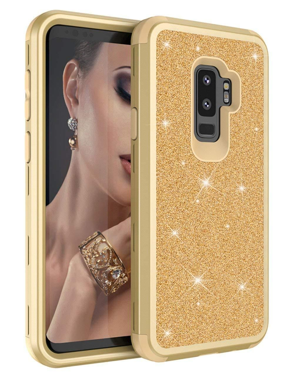 Samsung Galaxy S9 Plus Hybrid Bling Glitter Shockproof Protective Case Gold Fashion Bling Case Designed For Sam Samsung Galaxy S9 Bling Design Protective Cases