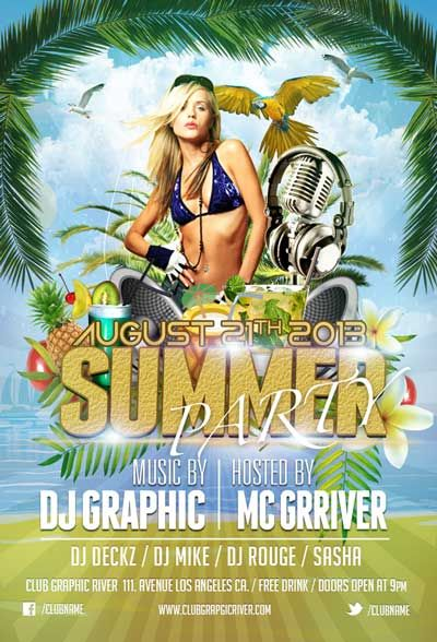 summer party free psd flyer template http freepsdflyer com
