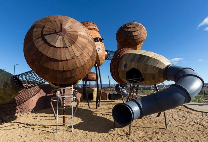 Giant Pod Playground invites children to play amidst the magic of the forest