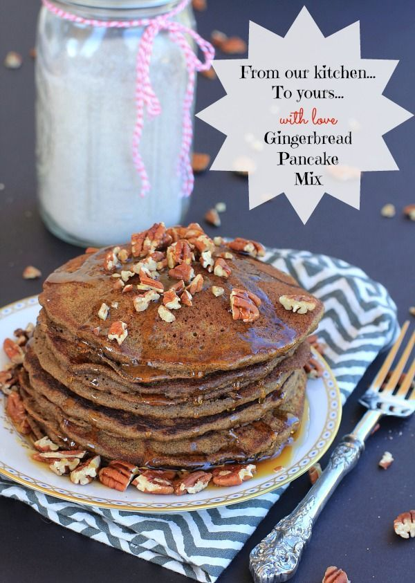 Celebrate Christmas with an easy recipe for gluten-free Gingerbread Pancakes & homemade Gingerbread Pancake mix you can give as delicious homemade holiday gifts to your family and friends!