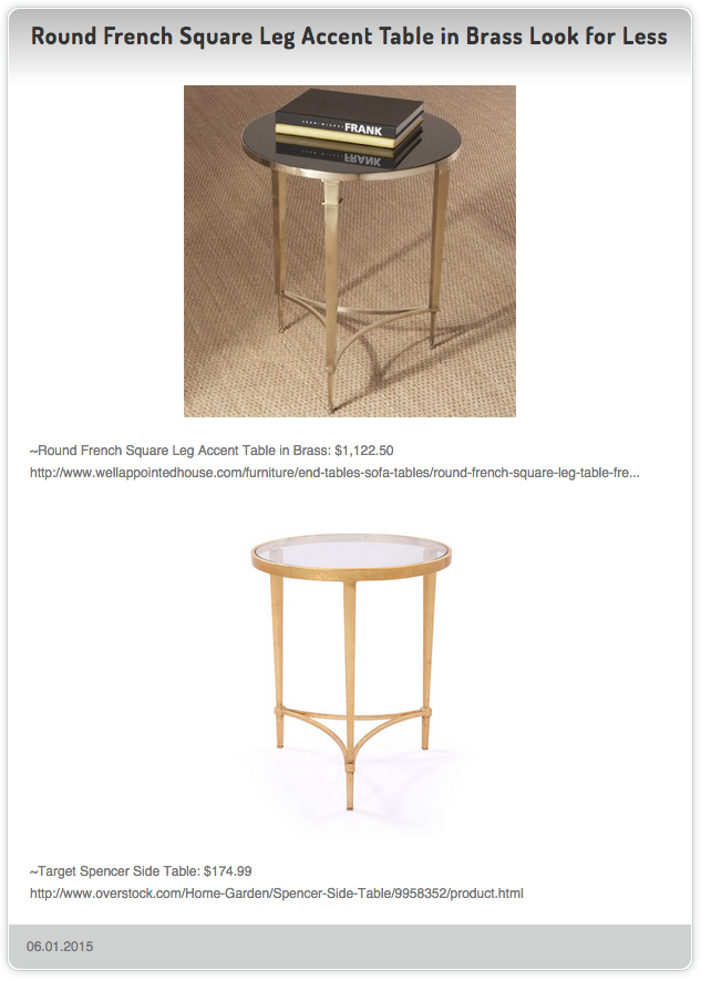 Round French Square Leg Accent Table In Brass Vs Target - Brass side table target