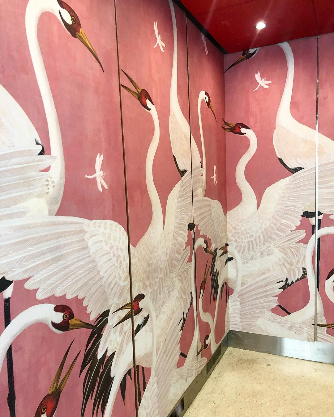 I Grew Up In A Pink Bedroom Not By Choice So I Have A Tricky Relationship With The Color This Gucci Heron Wallpaper I Saw Wallpaper Wall Painting Mural Art