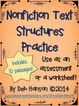 Informational Text Structure Assessment (or worksheet ...