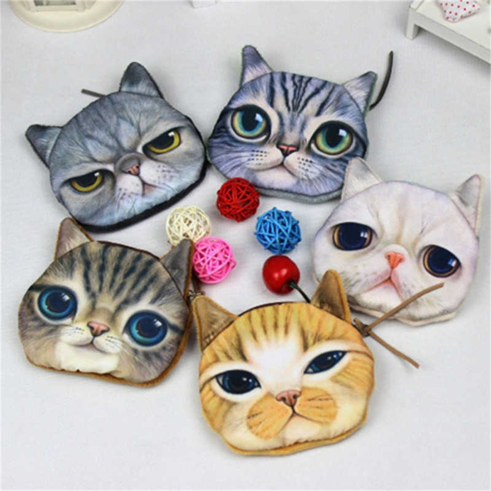 Women Kids Cartoon Cat Face Zipper Coin Kids Purse Wallet Makeup Mini Bag Pouch