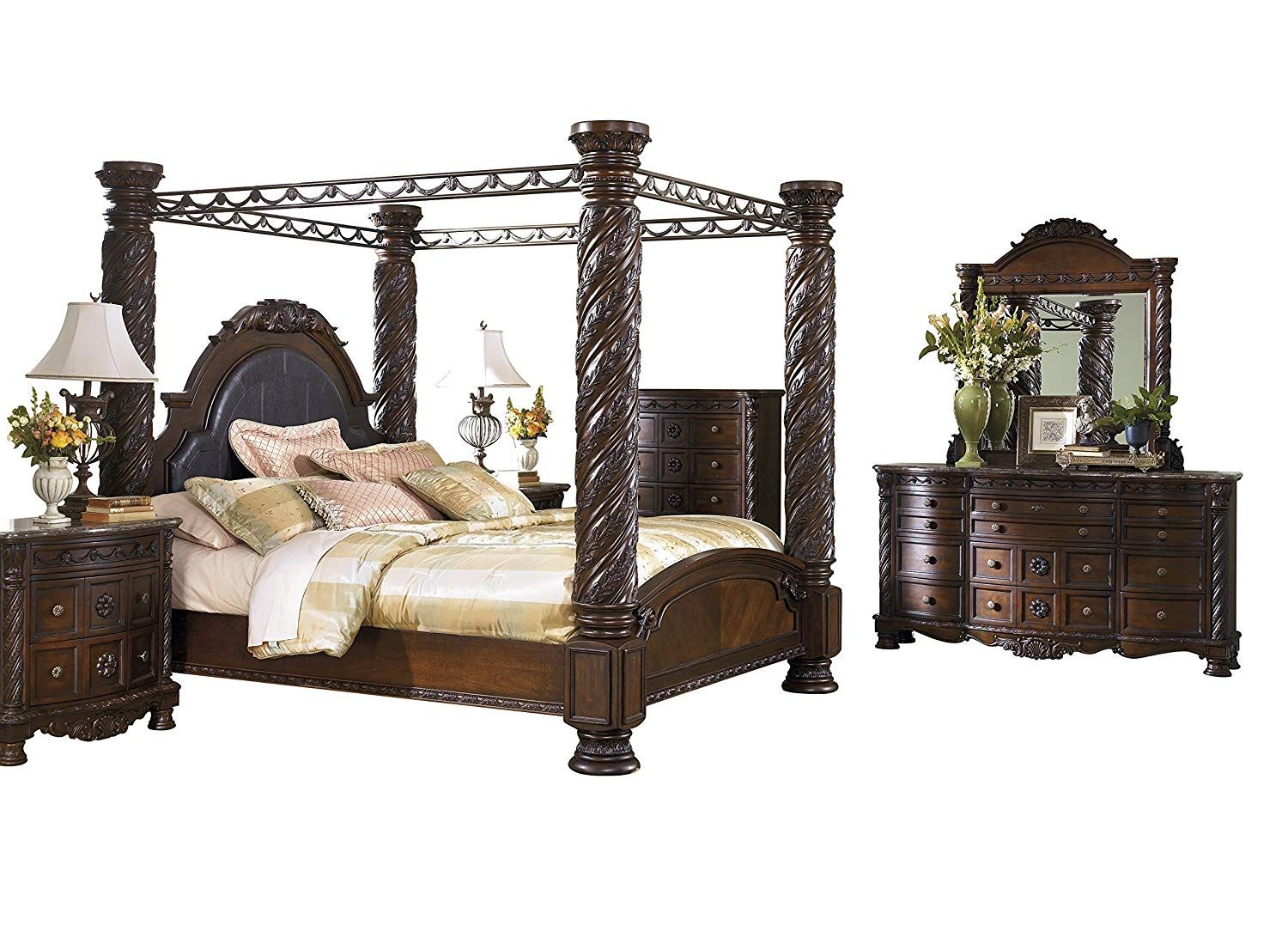 Ashley North Shore 6pc Bedroom Set Cal King Poster Canopy Bed Dresser Mirror Two Nightstand Che