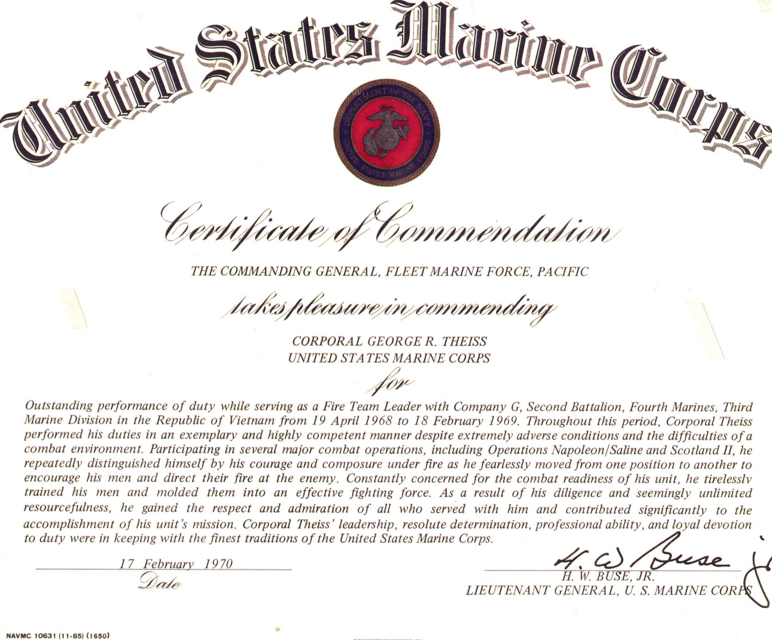 Usmc Certificate Of Commendation For George Theiss Training Certificate Certificate Template Templates