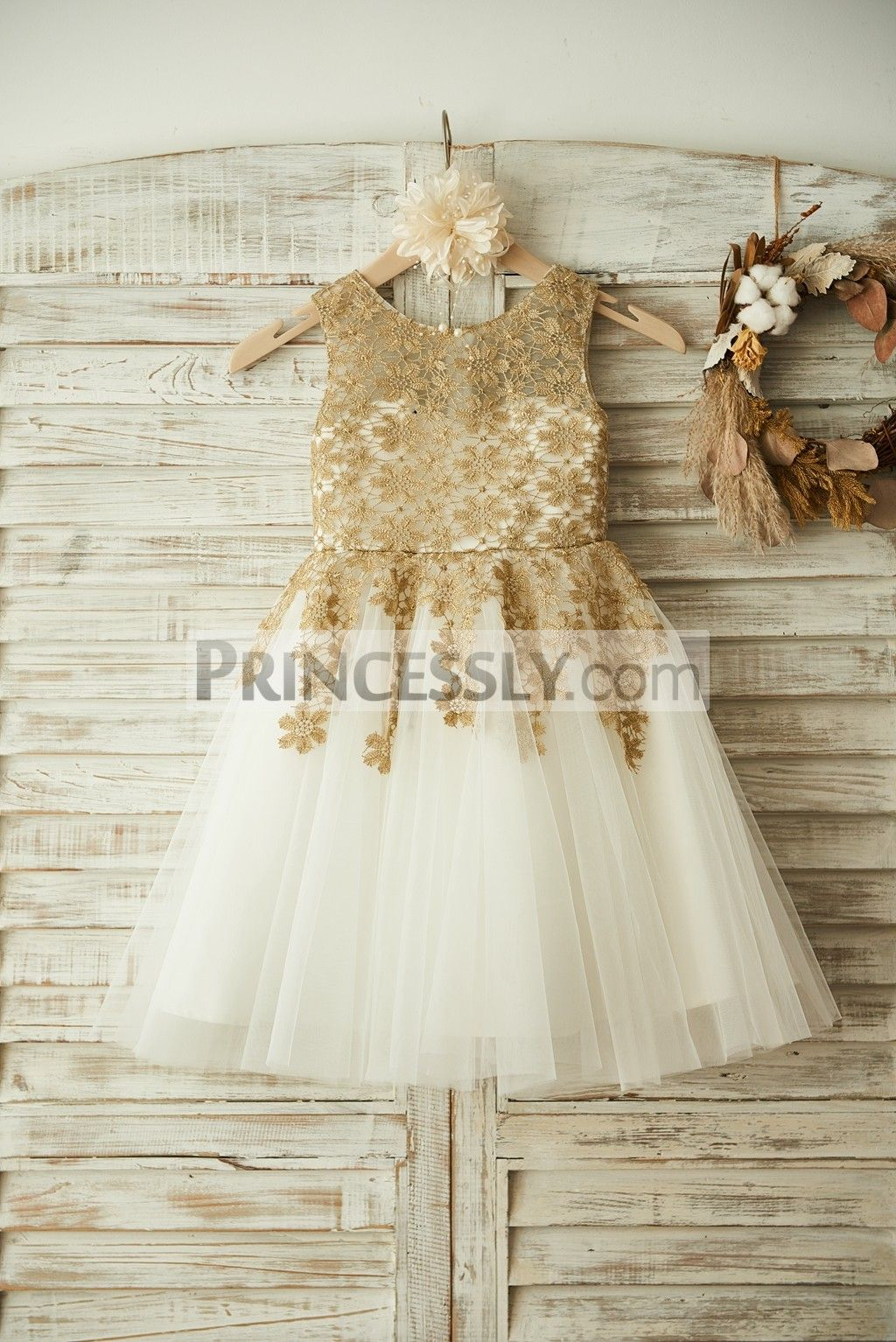 c9bbfded7d5 Ivory Lace Overlay Flower Girl Dress