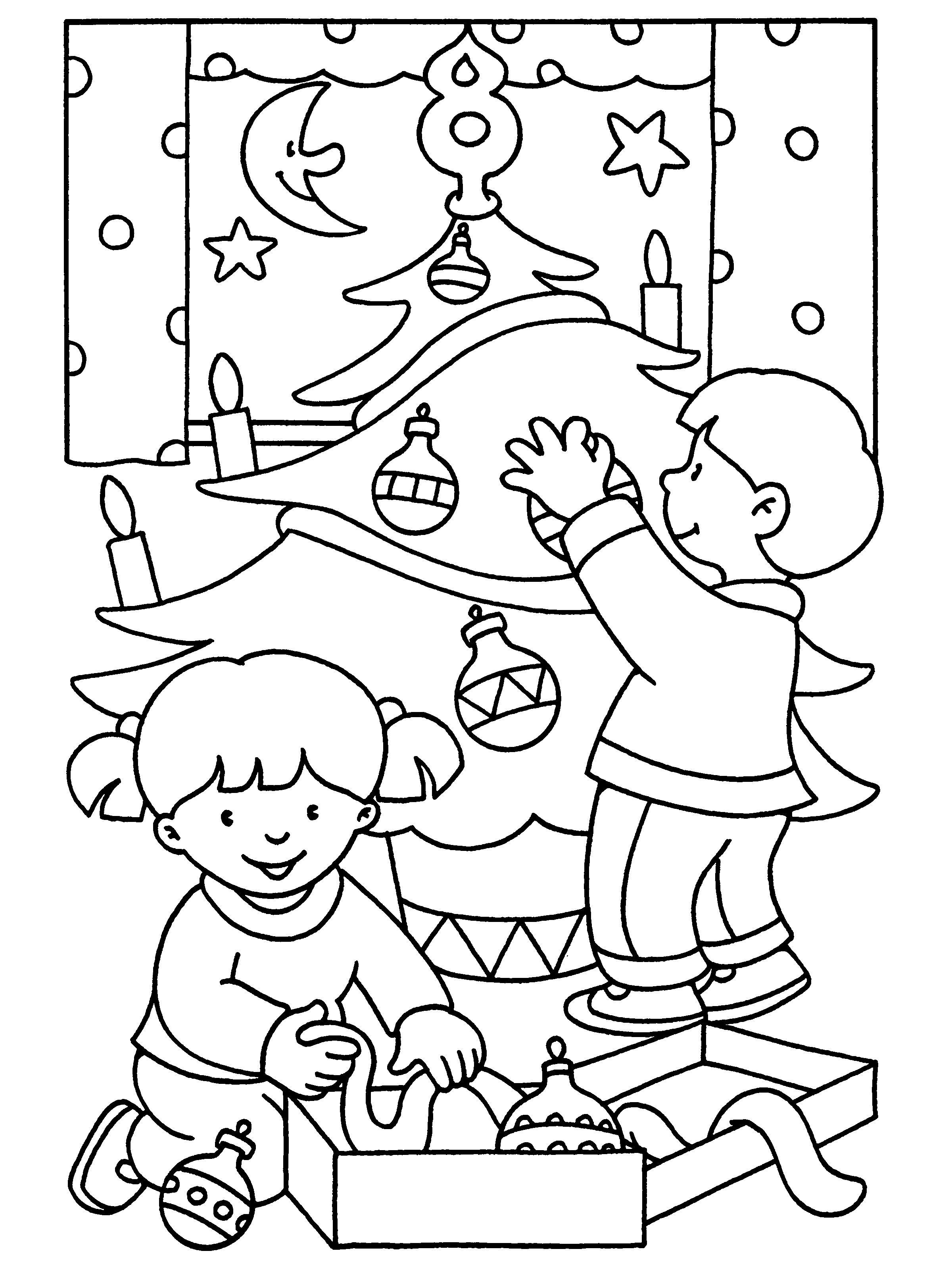 Kleurplaten Paradijs Kleurplaat De Kerstboom Versieren Nieuwe