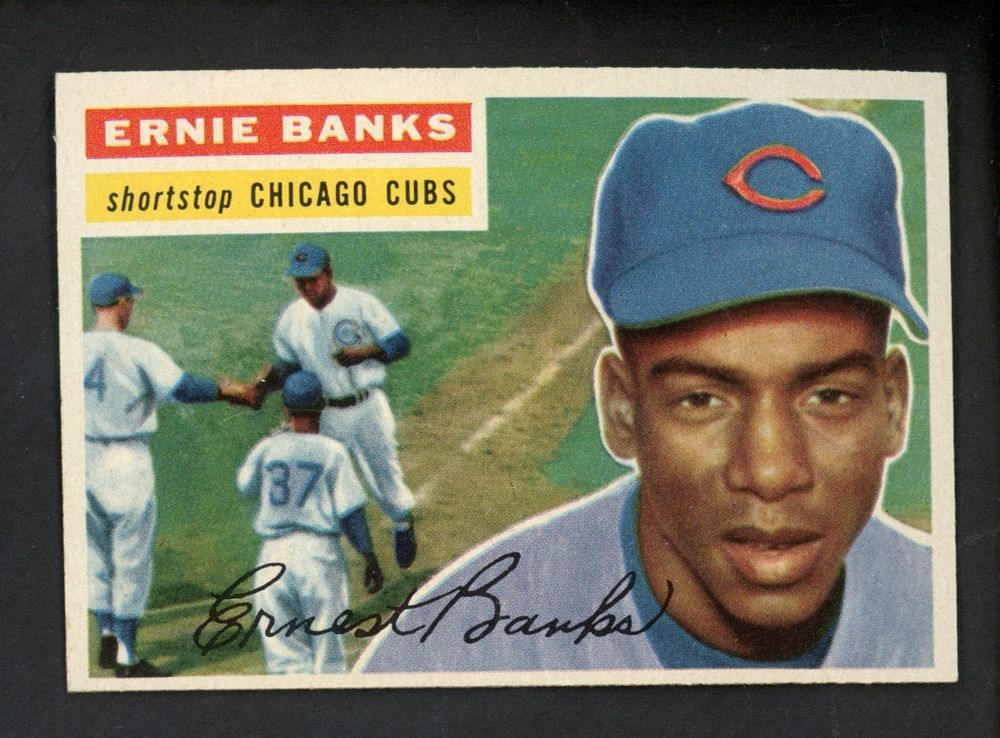 1956 topps 15 ernie banks chicago cubs hof white back ex