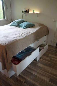 Our platform bed is selfmade by my boyfriend and dad it 39 s Ikea nordli storage bed review