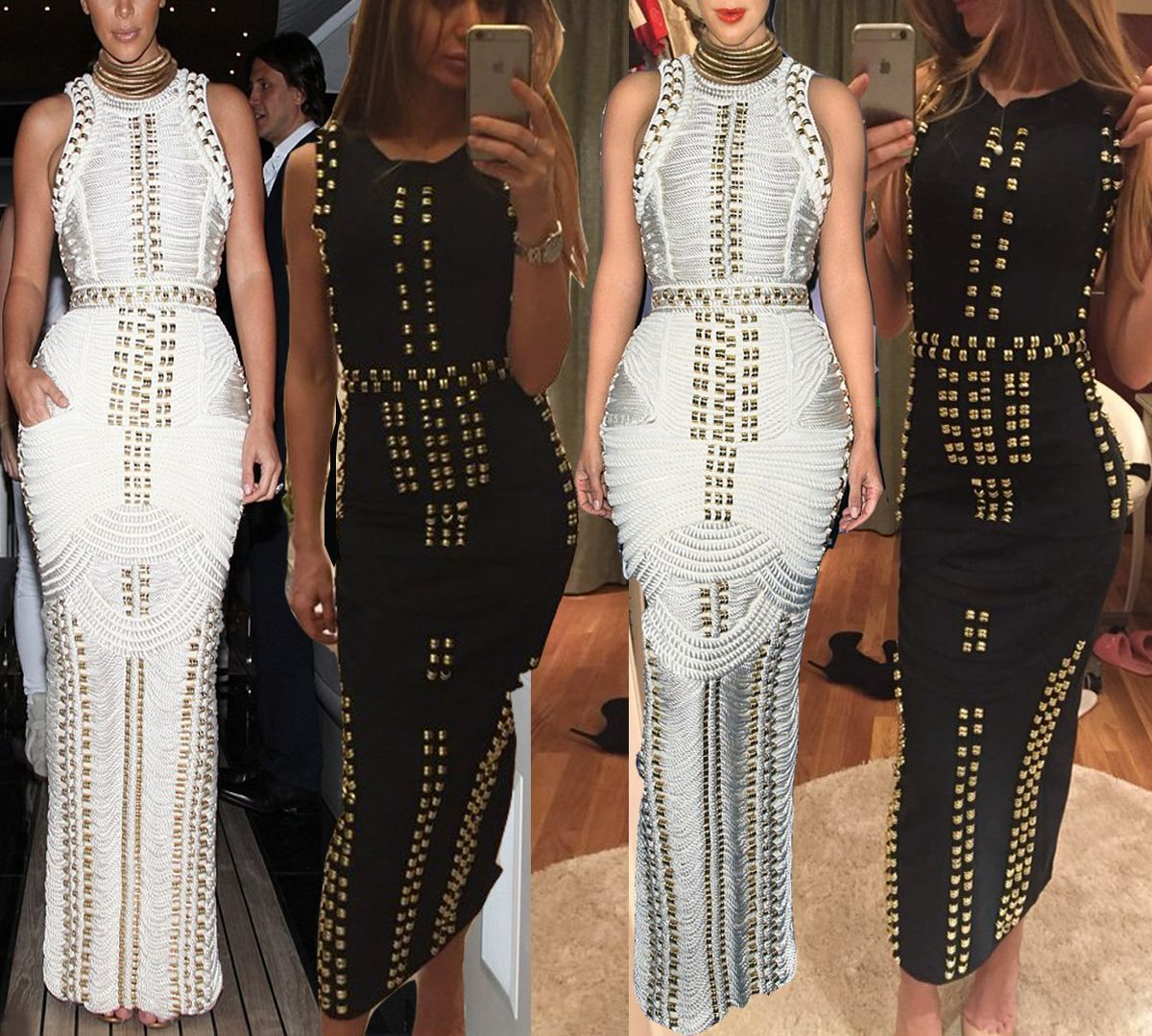 Black or White? Shop exclusive LUXE collection 'Gold Beaded Sleeveless #Boydcon Dress' on fashionfrenzzie.com  #fashionfrenzzie