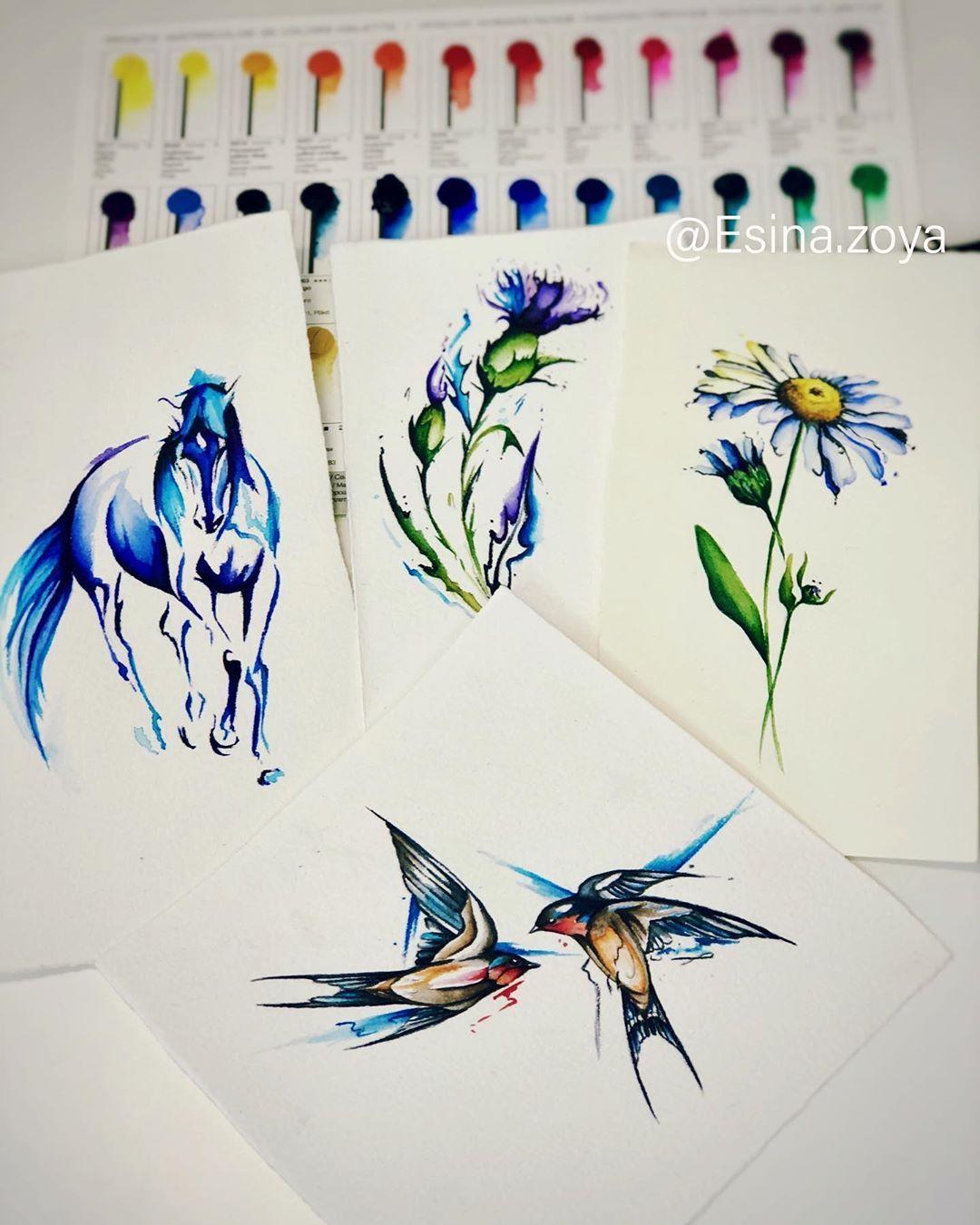 Свободные дизайны. По всем вопросам пишите в direct📩. #waterolortattoo #watercolorpainting #tattoosketch #watercolorflower #spbtattoo #татупитер #татуспб #colortattoo #tattooart