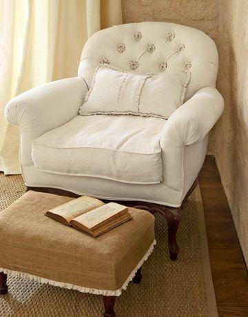 Love the burlap stool....
