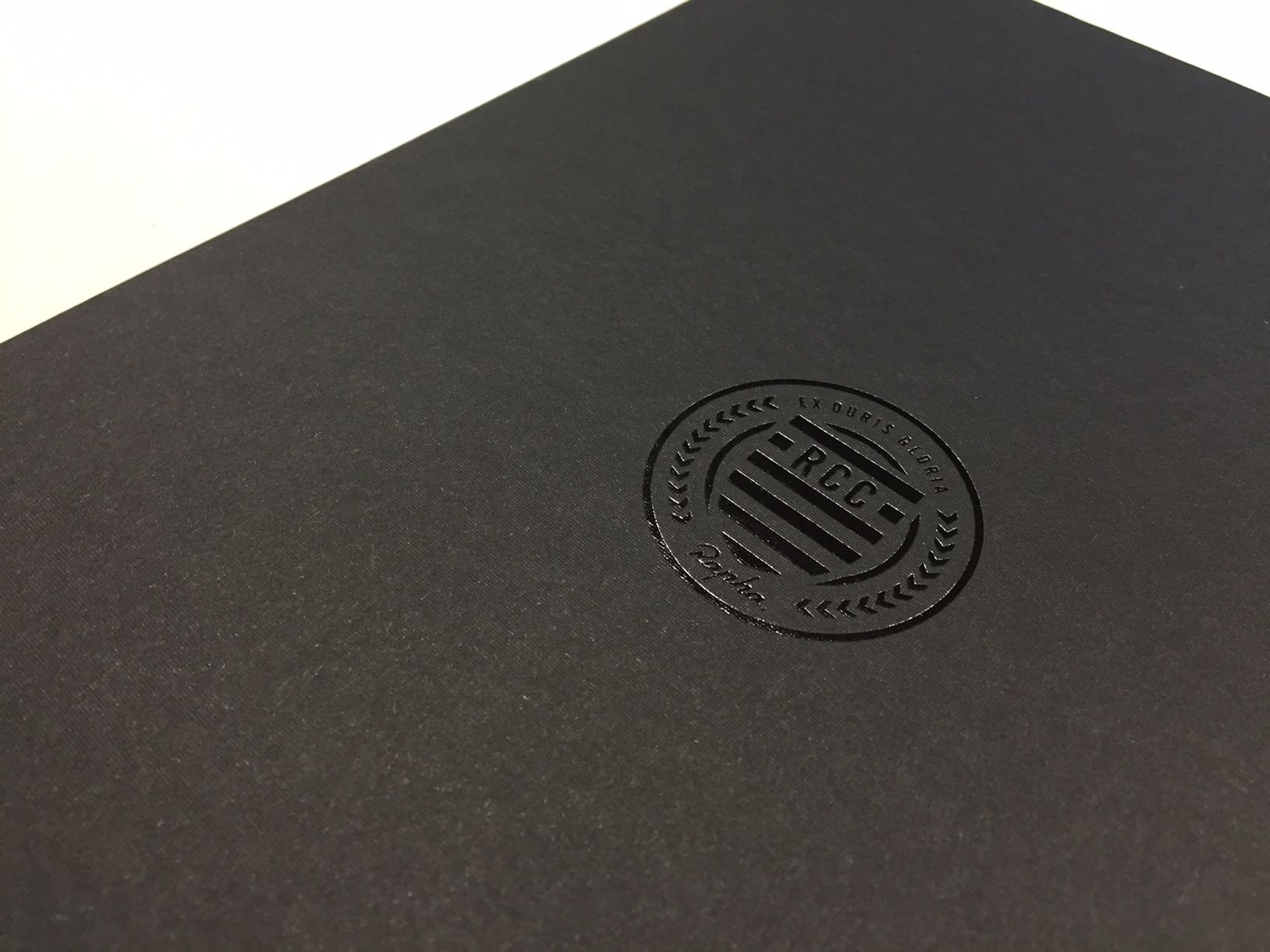Black foiled logo and black GF Smith Colorplan stock good pair