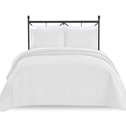 994ec7b193ca1 Luxe Bedding 3-piece Oversized Quilted Bedspread Coverlet Set  (King/CalKing, Spring/White) Best Quilted Comforter, Set USA