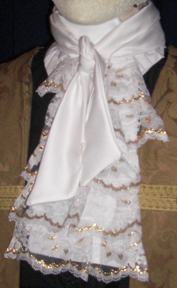 19d52e4a2e4219 Extra Fancy Men's Lacey Jabot/ Cravat in Sparkling White and Gold Cascading  Layers. Tie