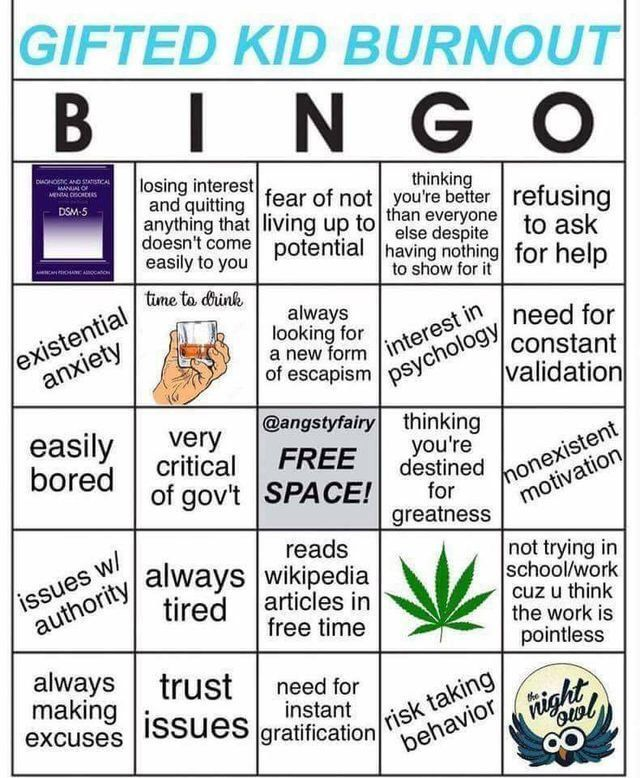 Gifted Kid Burnout Bingo Gifted Kids Gifts For Kids Kids Tumblr
