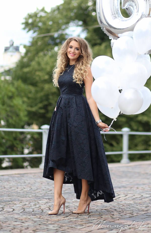 H&m Navy High And Low Fit And Flare Prom Dress