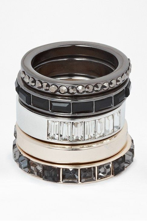 Geo Stone And Metal Stacking Rings $44.50