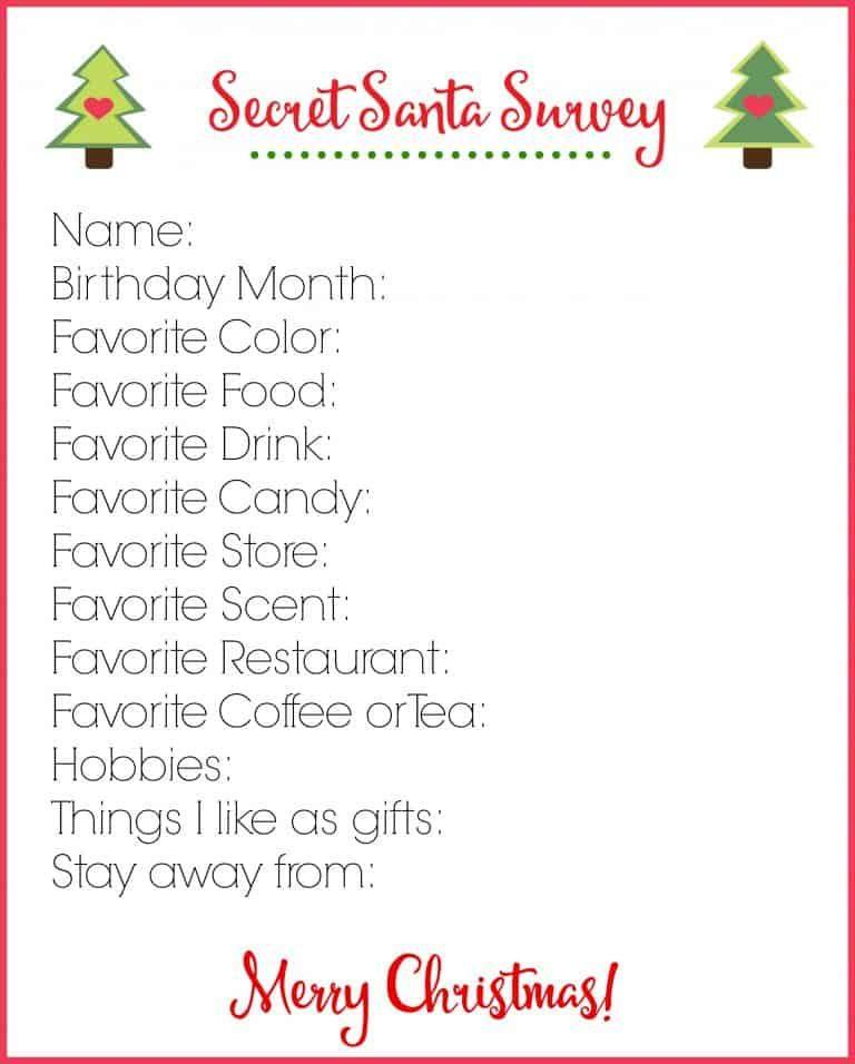 Secret Santa Survey Printable | Free Christmas Download
