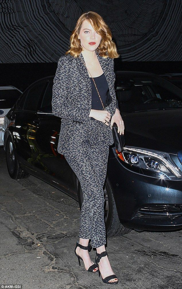 Stylish star! The always-fashionable Emma Stone made another chic wardrobe choice as she stepped out in monochrome separates for a night out in Los Angeles on Saturday