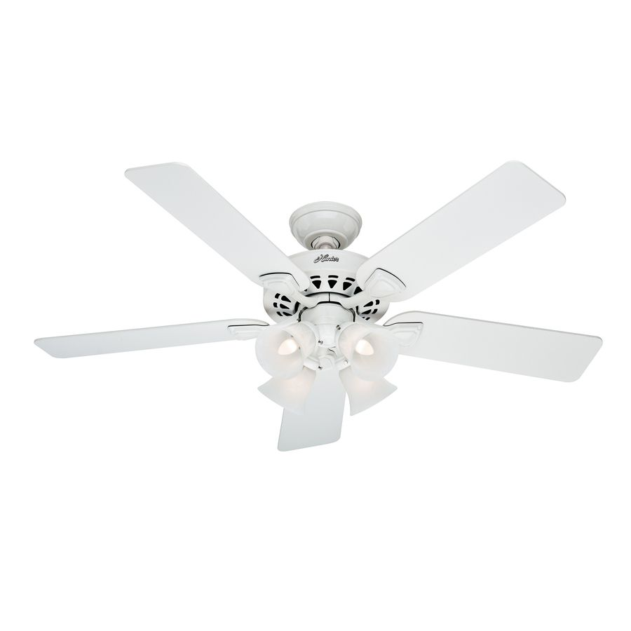 Hunter Westminster 5 Minute 52 In White Downrod Or Flush Mount Ceiling Fan With Light Kit At Com