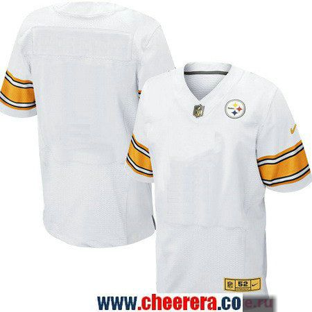 6f190c9c8327 Men s Pittsburgh Steelers Blank White With Gold Stitched NFL Nike Elite  Jersey