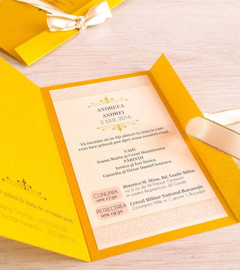 Invitatie De Nunta Personalizata Golden Dream Invitaii Nunta