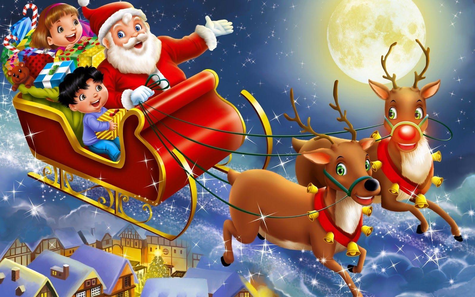Santa Claus Riding His Sleigh Reindeer With Kids In Sky Hd Wallpaper Jpg Merry Christmas Pictures Santa Claus Wallpaper Christmas Cards Kids