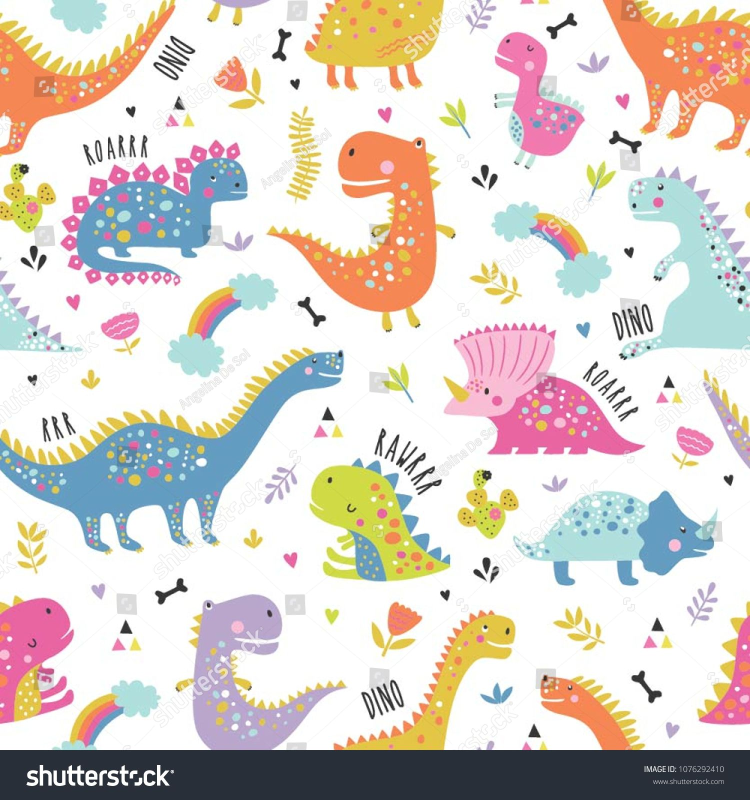 Cute Funny Kids Dinosaurs Pattern Colorful Dinosaurs Vector Background Backdrop For Textile And Fabric Dinosaurs Patt Dinosaur Pattern Dinosaur Kids Dinosaur