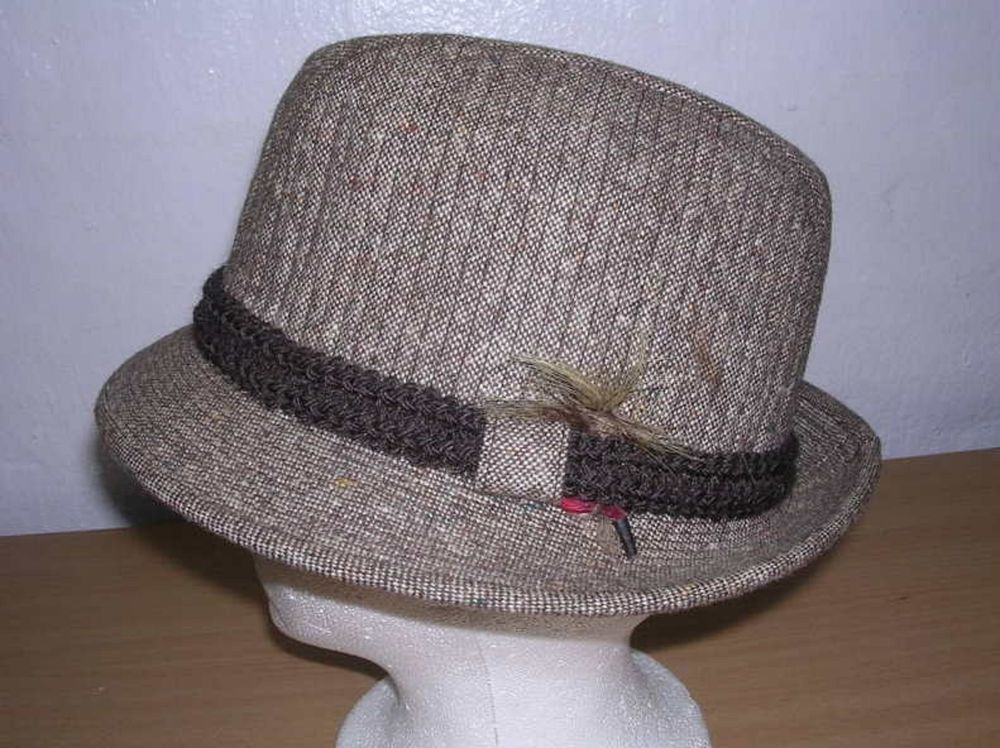 427bd7153d4 Dobbs Mens 6 7 8 Brown Tweed Hat Stingy Brim 21.5