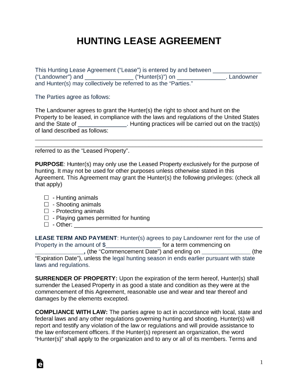 Free Hunting Lease Agreement PDF Word eForms Free
