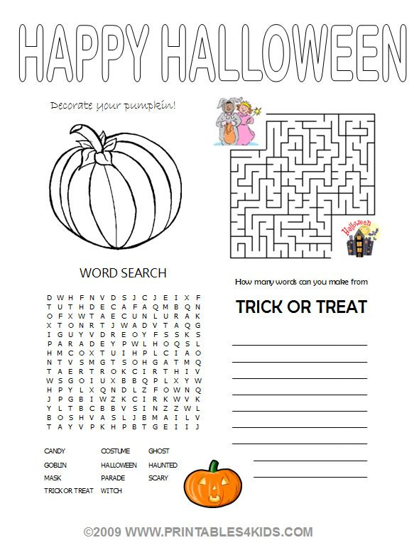 Halloween 4 In1 Activity Sheet Halloween Worksheets Halloween Printables Kids Halloween Classroom