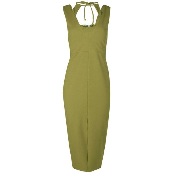 Millie Cut Out Detail Front Split Midi Dress ($26) ❤ liked on Polyvore featuring dresses, green dress, cutout dresses, green cocktail dress, midi cocktail dress and mid calf cocktail dresses
