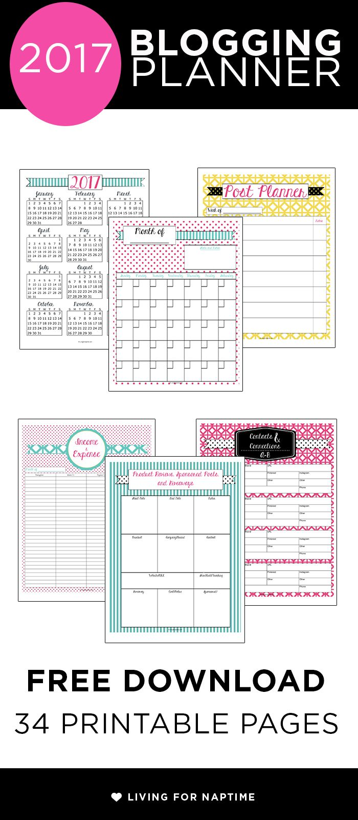 Download this free printable 2017 Blogging Planner and get organized with goal worksheets, content calendars and post planning sheets.