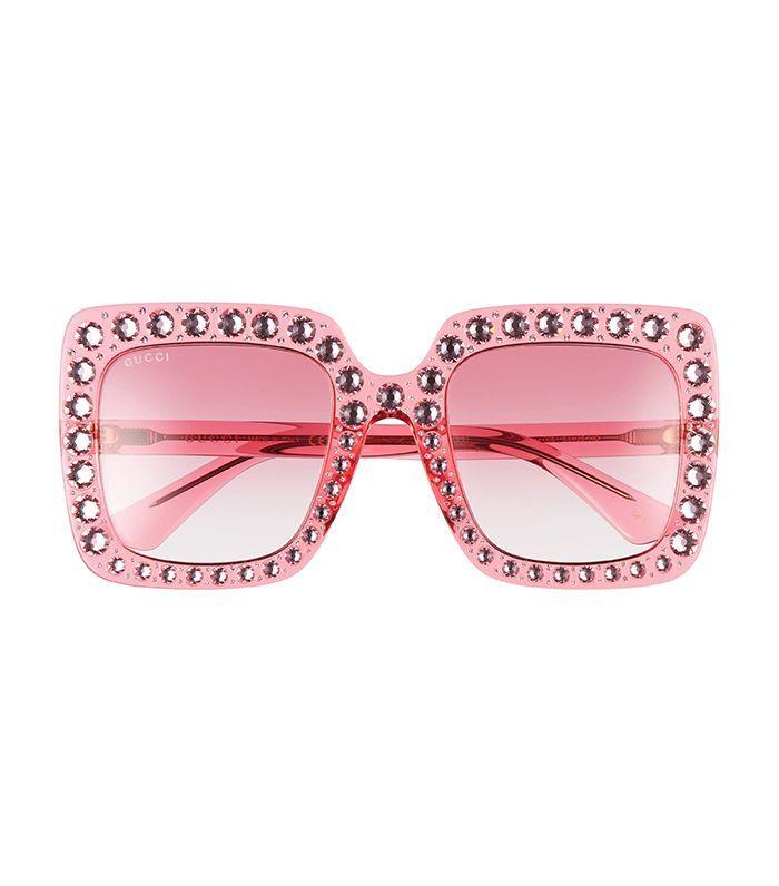 Gucci 53mm Crystal Embellished Square Sunglasses In Pink F I Pink Sunglasses Fashion Eye Glasses Stylish Glasses