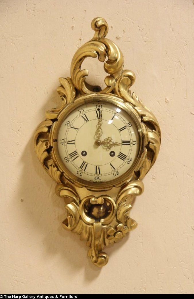 Swedish Westerstrand Gold Rococo Carved Cartouche Wall Clock Antique Clocks Clock Gold Clock