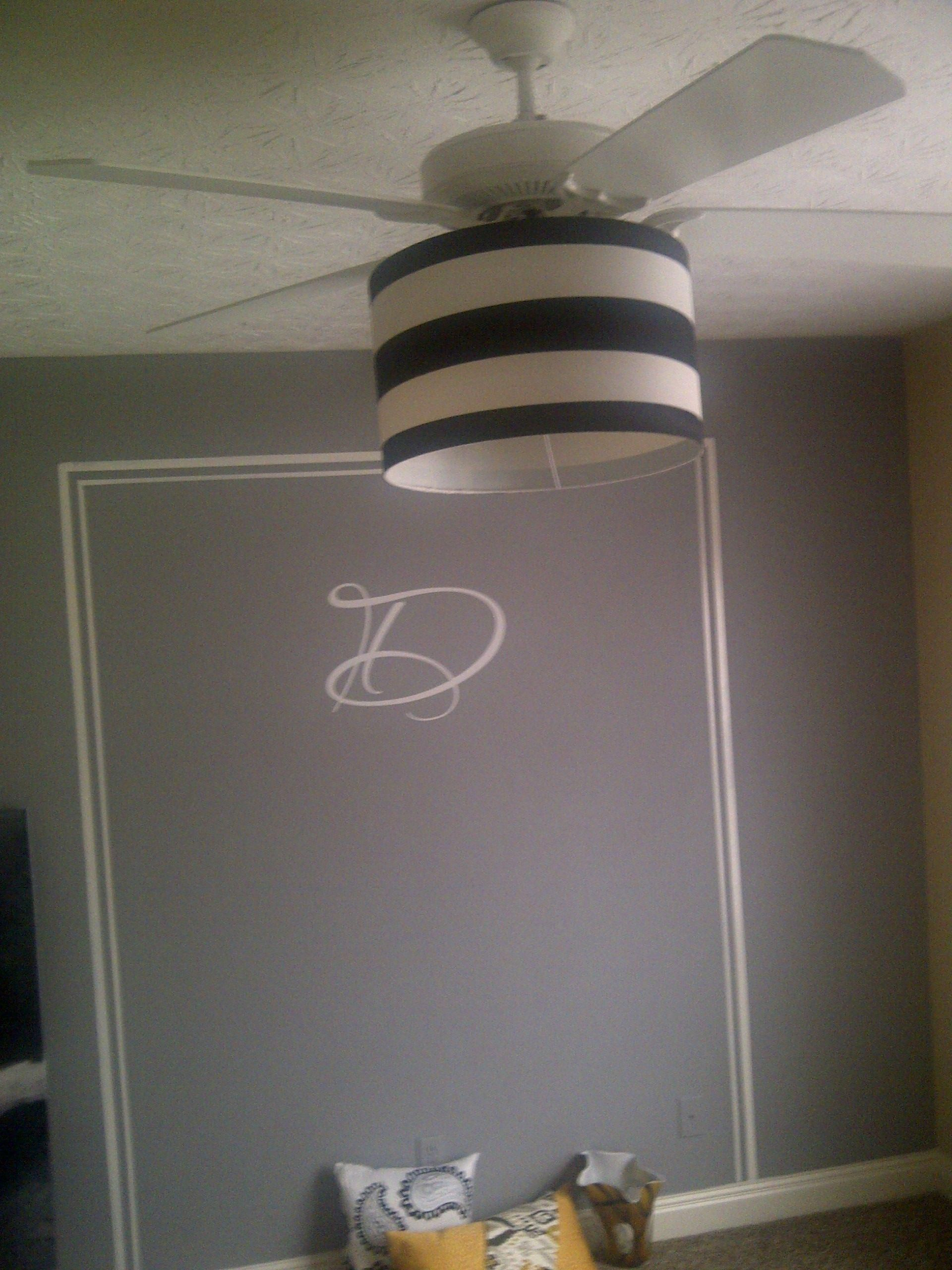Update A Ceiling Fan With A Drum Shade I Simply Used Twine And Tied In Place On The Existing Hardware To Create A F Ventiladores De Techo Ventilador Techo