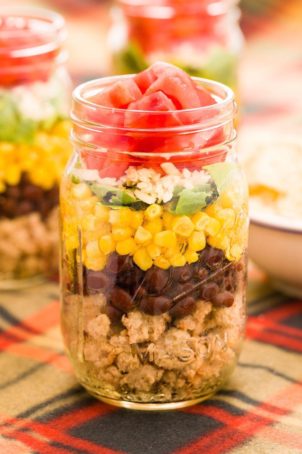 taco salad in a jar  recipe  mason jar meals salad in a