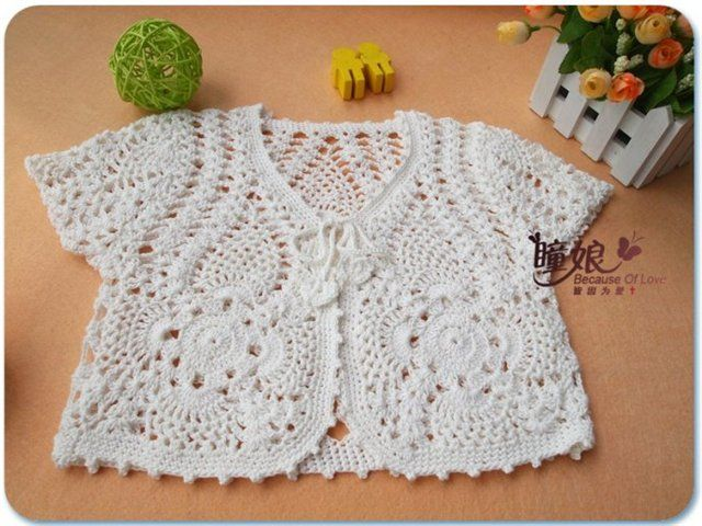 White Bolero Free Crochet Graph Pattern Crochet Pinterest