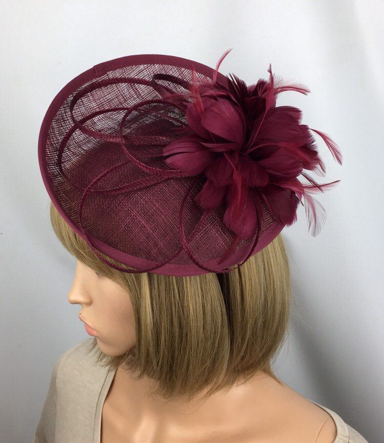 Burgundy Fascinator Red Wine Fascinator Maroon Wedding Hatinator Mother of the Bride Ladies Day Ascot Races Occasion Event