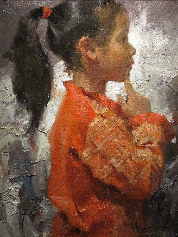 """. . chunky brushstrokes can be effective?! Mian Situ (Chinese/American, born 1953) """"The Innocence"""""""
