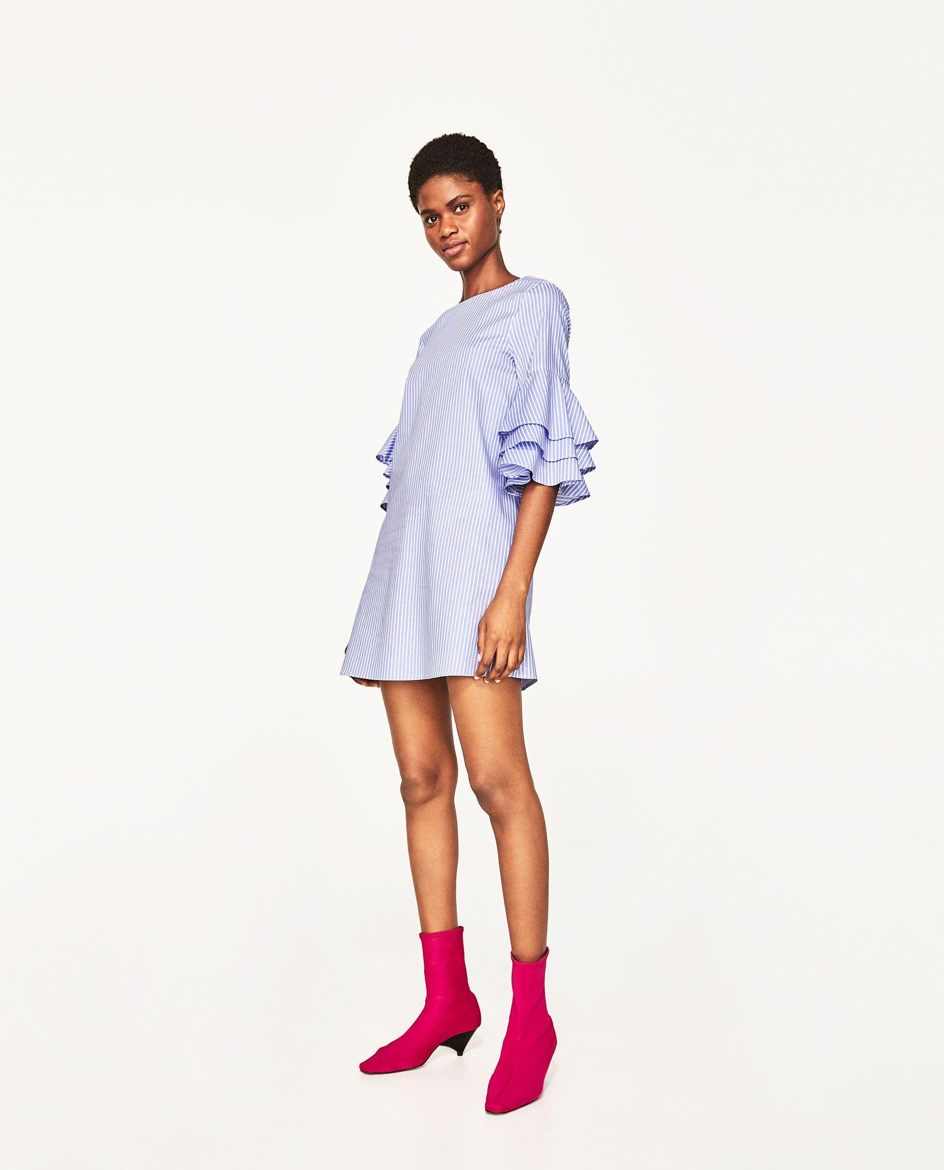 e727d92cd VESTIDO RAYAS MANGA VOLANTES | Stuff i want! | Zara mujer vestidos ...