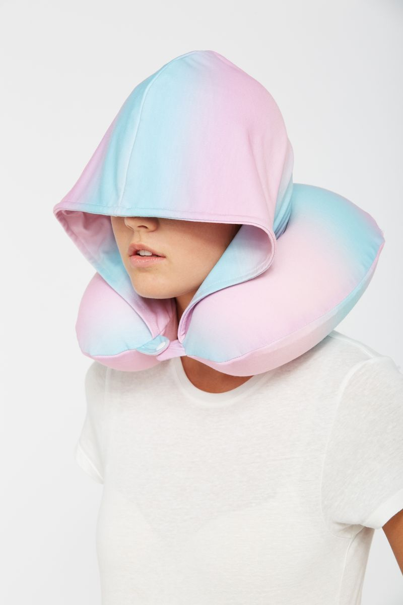 Typo Ombre Travel Neck Pillow with Hood