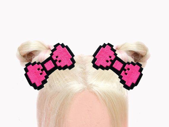 Pixel Art Hair Bows Neon Pink