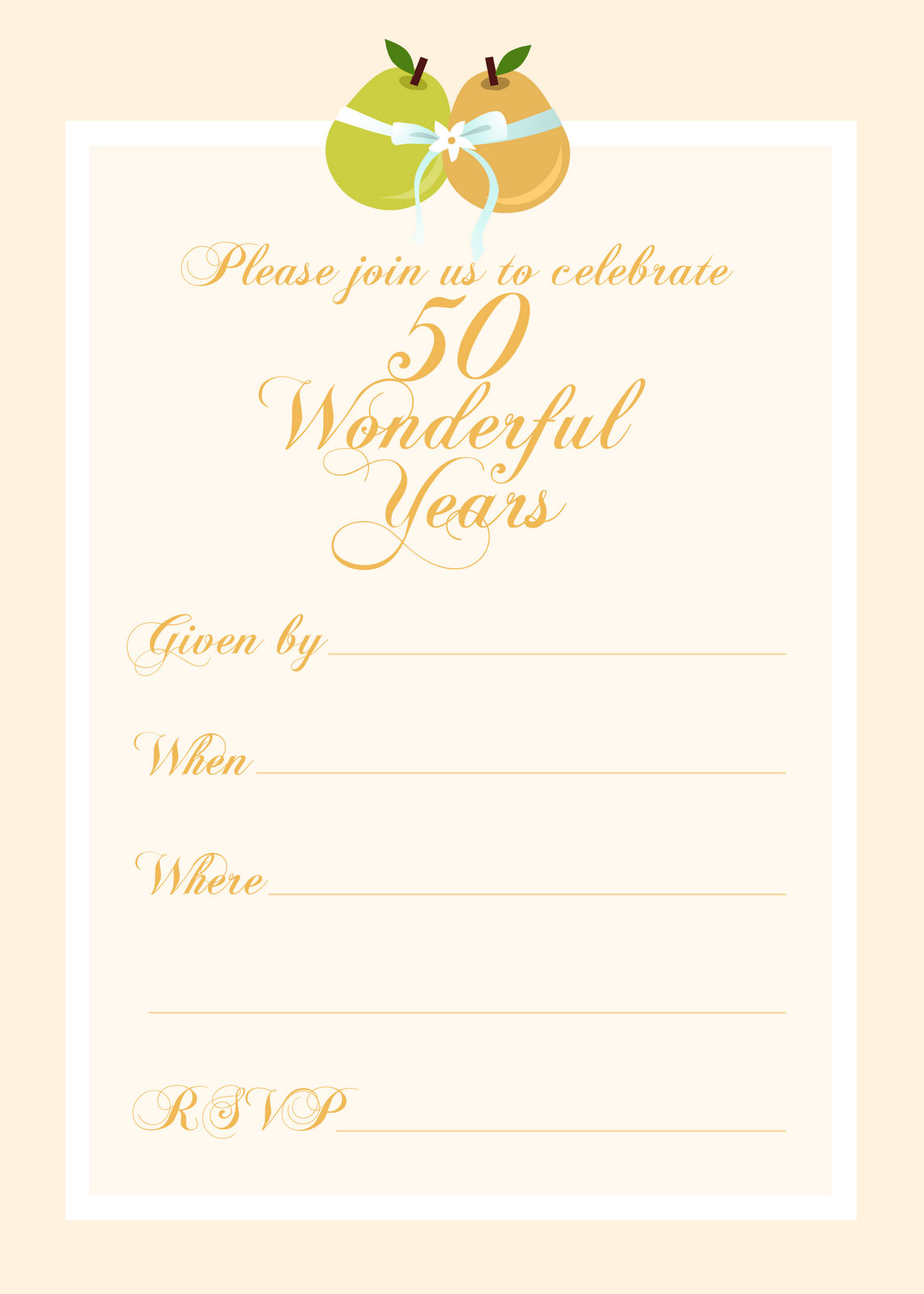 Free Printable 50 Year Anniversary Party Invitation