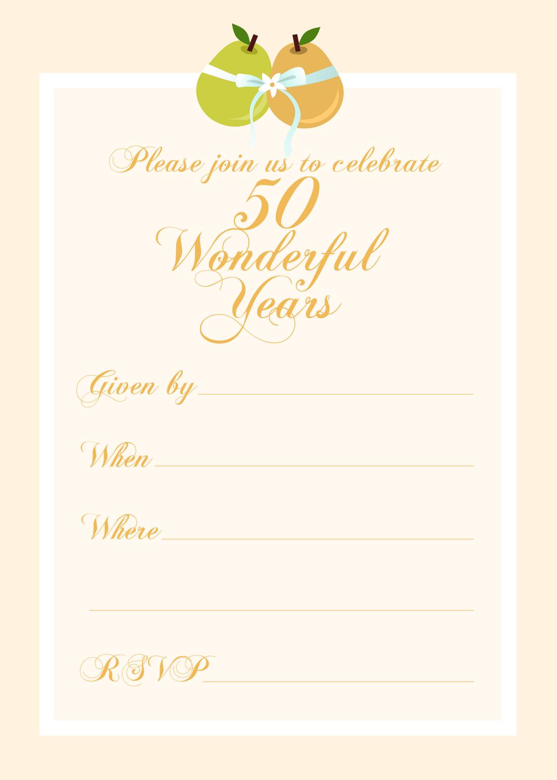 FREE printable 50 year anniversary party invitation Free