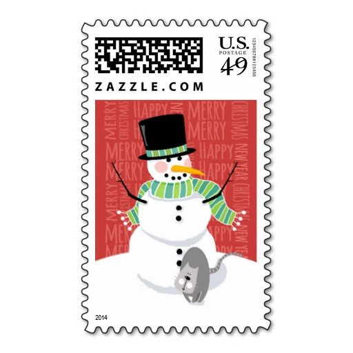 Happy Snowman And Cute Gray Cat Text Design Postage